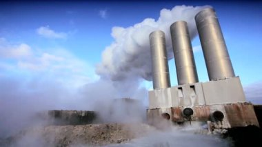 Steam From Energy Producing Geothermal Power Plant — Stock Video