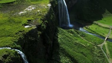 Aerial View of a Plateau Waterfall, Iceland — Stock Video #23258320