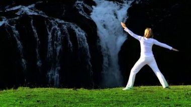 Female Yoga Exercises Outdoors — Stock Video
