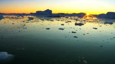 Sunset Over Frozen Arctic Glacial Ice — Stock Video
