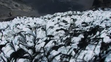 Aerial View of Volcanic Dust Layer on Glaciers — Stock Video