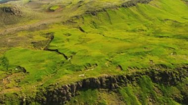 Aerial View of Fertile Plateau with Lava Ridges, Iceland — Stock Video