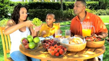 Young Ethnic Family Healthy Lunch in the Garden — Stock Video