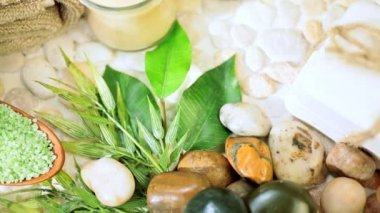 Group of Spa Products Promoting Wellbeing — Stock Video