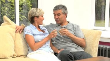 Attractive Couple Celebrating a Birthday with Champagne — Stock Video
