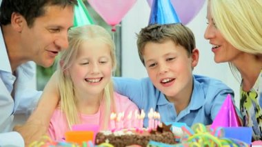 Young Caucasian Children Enjoying Birthday Celebrations — Stock Video
