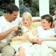 Caucasian Family at Home with Their Dog — Stock Video