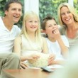 Caucasian Family Watching Movies with Popcorn — Stock Video