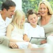 Caucasian Family Playing on Wireless Tablet — Stock Video