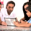 Asian Family Playing on Wireless Tablet — Stock Video