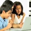 Young Asian Mother & Children Using Laptop — Stock Video