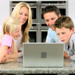 Caucasian Family Having Online Webchat at Home — Stock Video #23260606