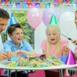 Attractive Caucasian Family Cutting Birthday Cake — Stock Video