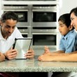 Young Ethnic Family Using Wireless Tablet for Webchat — Vídeo de stock