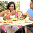 Attractive Asian Family Eating Together — Stock Video