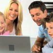 Caucasian Family Having Online Webchat at Home — Stock Video