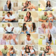 Montage of Multi Ethnic People Using Online Video Chat - Foto de Stock