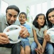 Ethnic Parents Having Fun on Games Console — Stock Video