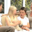 Young Caucasian Family with Pet Dog — Stockvideo