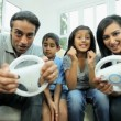Young Asian Parents Playing on Games Console — Stok video