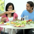 Young Asian Family Sharing Healthy Lunch Together — Stock Video #23261408
