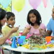 Young Asian Family Sharing Party Birthday Cake — Stock Video #23261492
