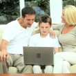 Caucasian Family   Communicating Via Online Webchat — Stock Video