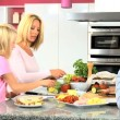 Caucasian Family Preparing Healthy Meal Together — Stock Video