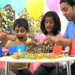 Young Asian Family Sharing Party Birthday Cake — Stock Video