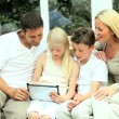 Caucasian Family Playing on Wireless Tablet — Stock Video #23262062