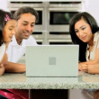 Asian Family Using Laptop for Online Video Chat — Stock Video