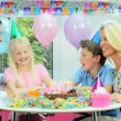 Young Blonde Girl Enjoying Birthday Celebrations — Stock Video