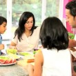 Young Asian Family Making Healthy Lunch — Stock Video