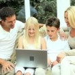 Caucasian Family at Home with Laptop Computer — Stock Video