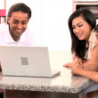 Asian Family Using Laptop for Online Video Chat — Video Stock