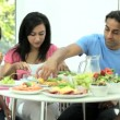 Young Asian Family Eating Healthy Lunch Together — Stock Video #23262912