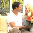 Attractive Female Receiving Anniversary Flowers — Stock Video