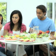Young Asian Family Sharing Healthy Lunch Together — Stock Video