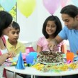 Young Asian Children Enjoying Birthday Cake — Stock Video