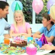Young Blonde Girl Enjoying Birthday Celebrations — Stock Video #23263326
