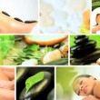 Royalty-Free Stock Vectorafbeeldingen: Montage of Multi Ethnic Females Enjoying Spa Treatment