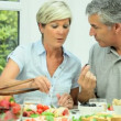 Stock Video: Mature Couple Sharing Healthy Lunch