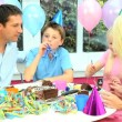 Attractive Caucasian Family Enjoying Birthday Cake — Stock Video