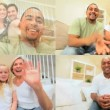Montage of Multi Ethnic Using Online Video Chat — Stock Video #23264066
