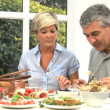 Mature Couple Sharing Healthy Lunch — Vídeo Stock