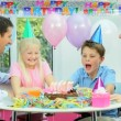 Young Caucasian Family Birthday Celebrations — Stock Video