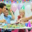 Young Caucasian Girl Enjoying Birthday Celebrations — Stock Video