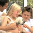 Young Caucasian Family with Pet Dog — Stock Video