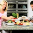 Young Caucasian Children Helping Prepare Healthy Lunch — Stock Video #23264584
