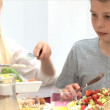 Young Caucasian Family Sharing Healthy Lunch Together — Vídeo de stock